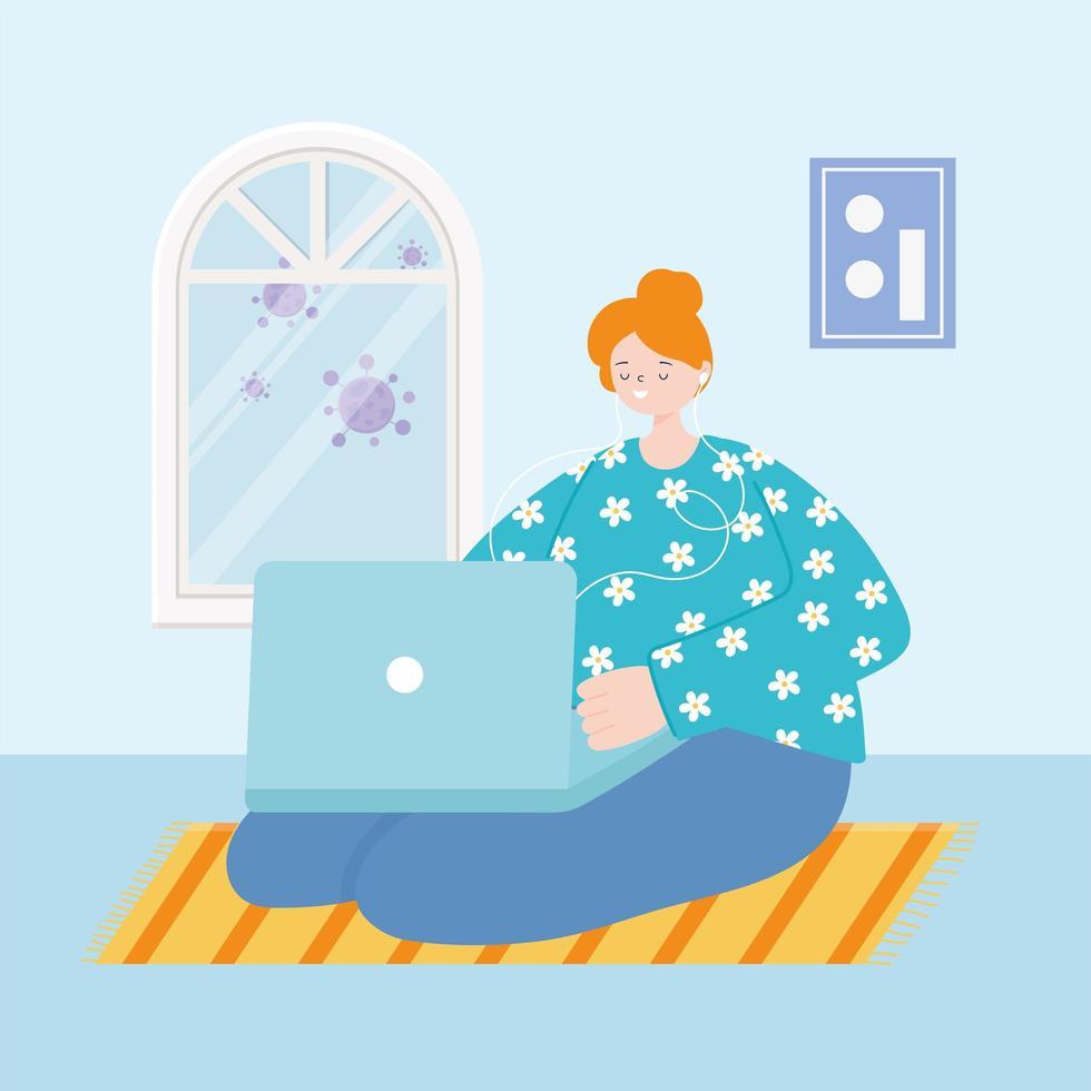 giovane donna seduta sul pavimento con laptop e auricolari vettore