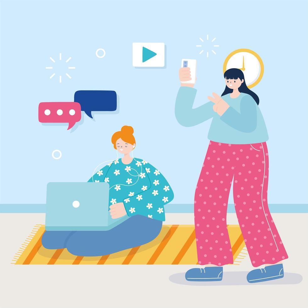 mujeres jóvenes escuchando música y tomando selfie vector