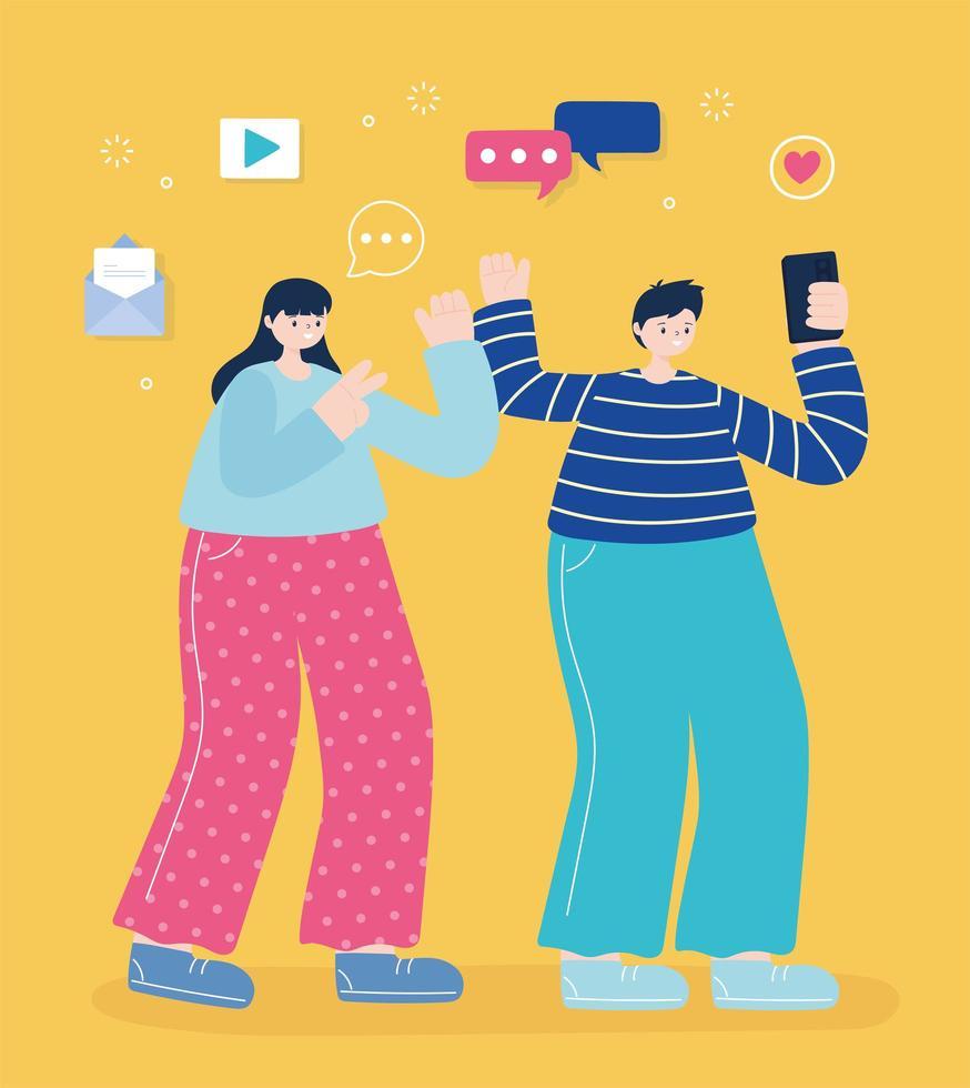 joven y mujer tomando un selfie vector