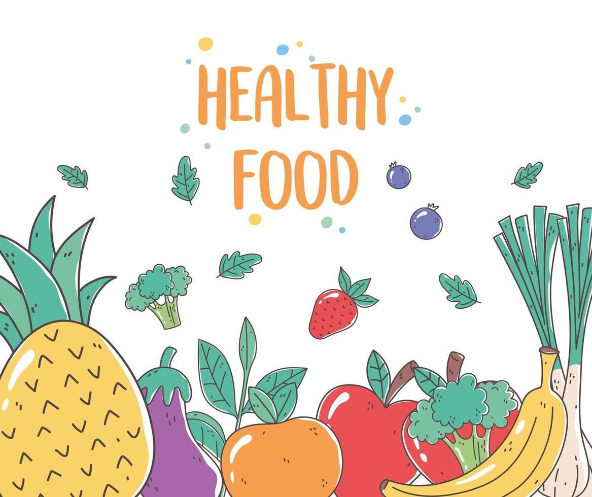poster di cibo sano con frutta e verdura fresca vettore