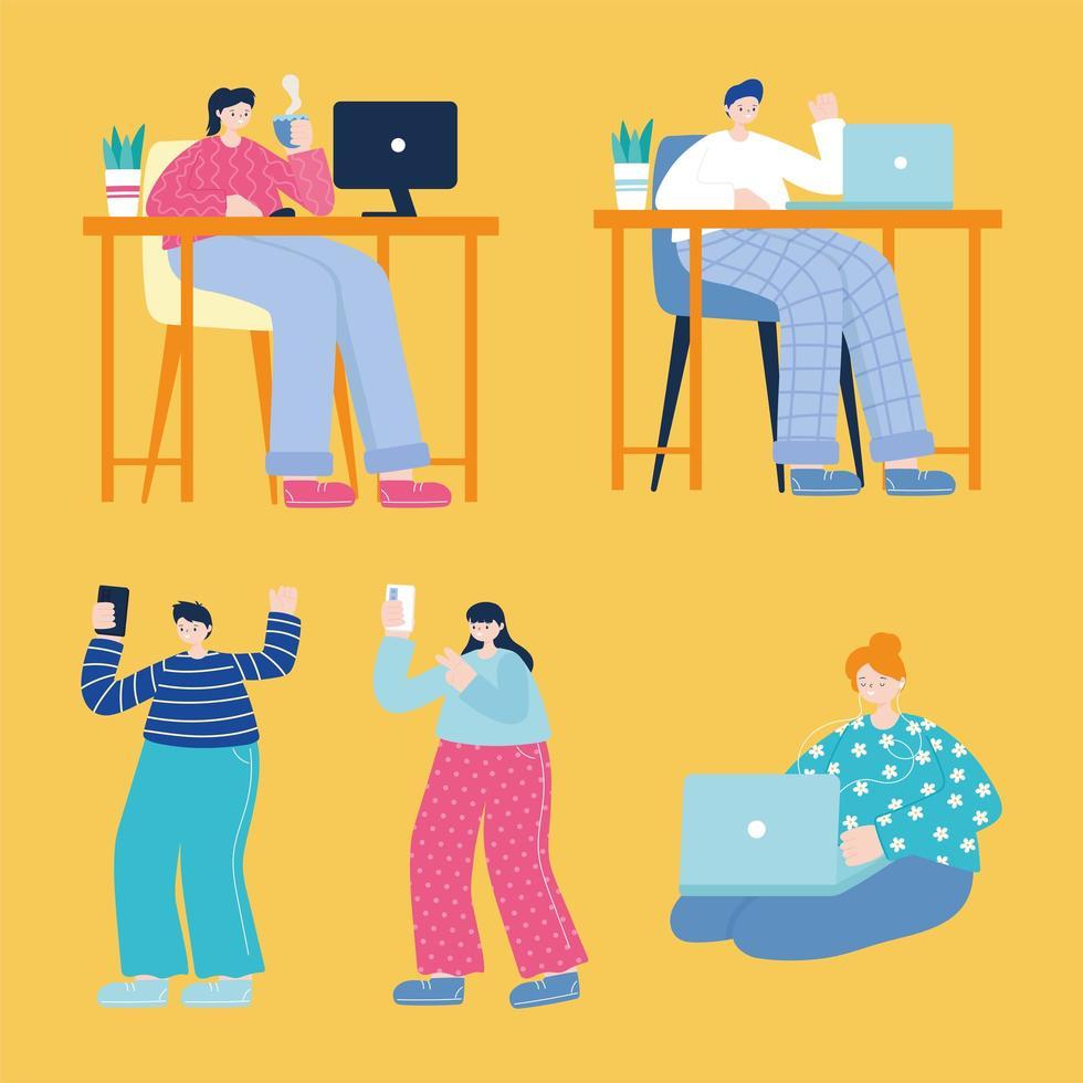 hombres y mujeres jóvenes que usan dispositivos electrónicos vector