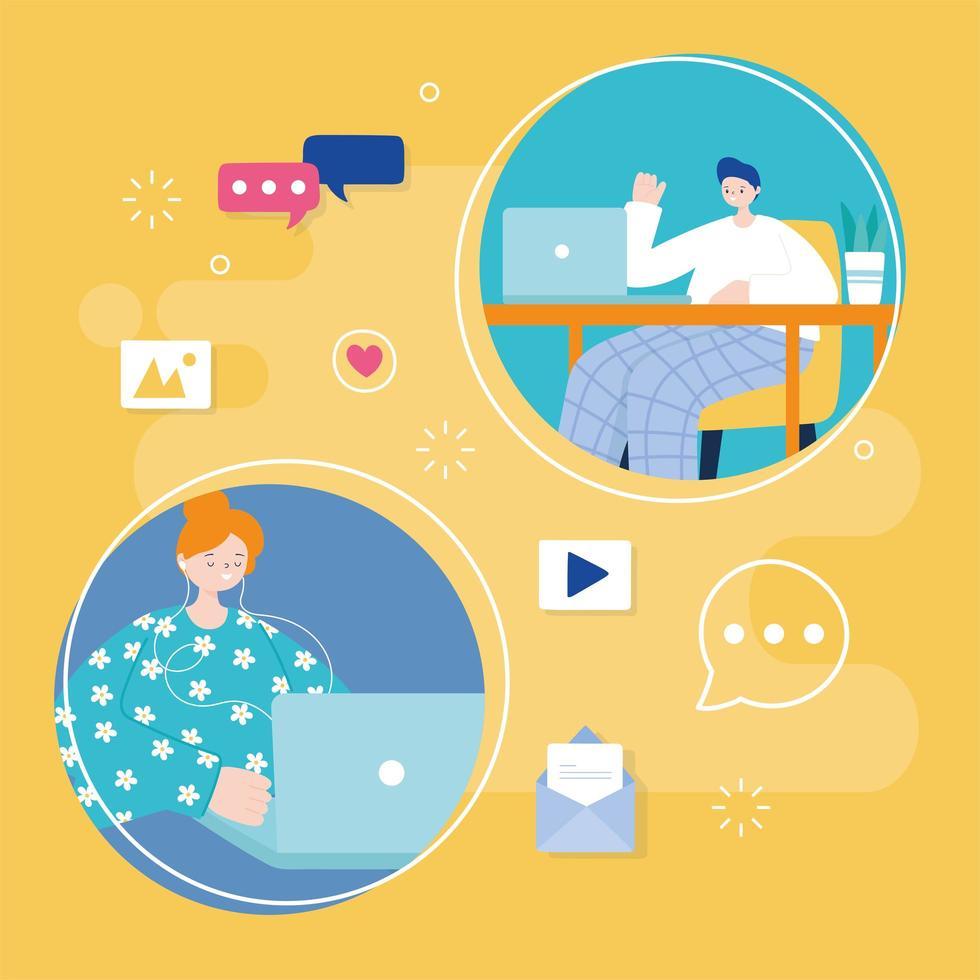 joven y mujer usando laptop para redes sociales vector