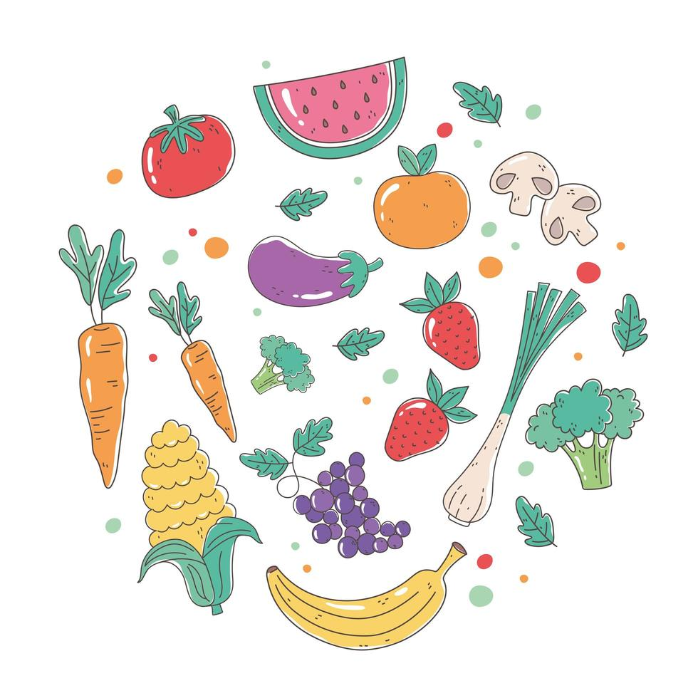 cibo biologico sano con frutta e verdura fresca vettore