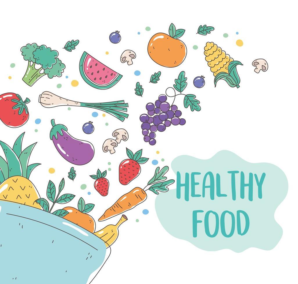 tazón de comida orgánica saludable con frutas y verduras frescas vector