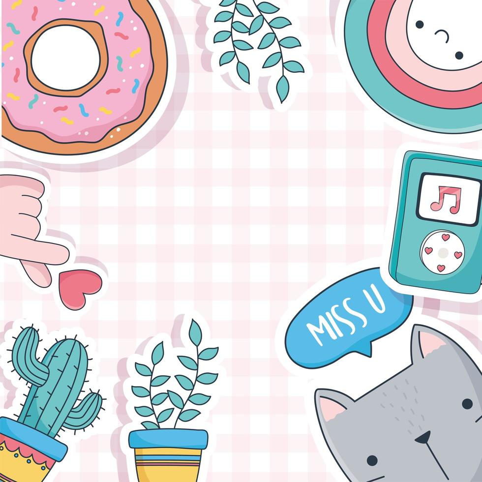 lindo gato, plantas en macetas, donas e íconos de la música vector