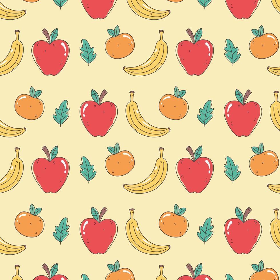 modello di cibo sano con arance, mele e banane vettore