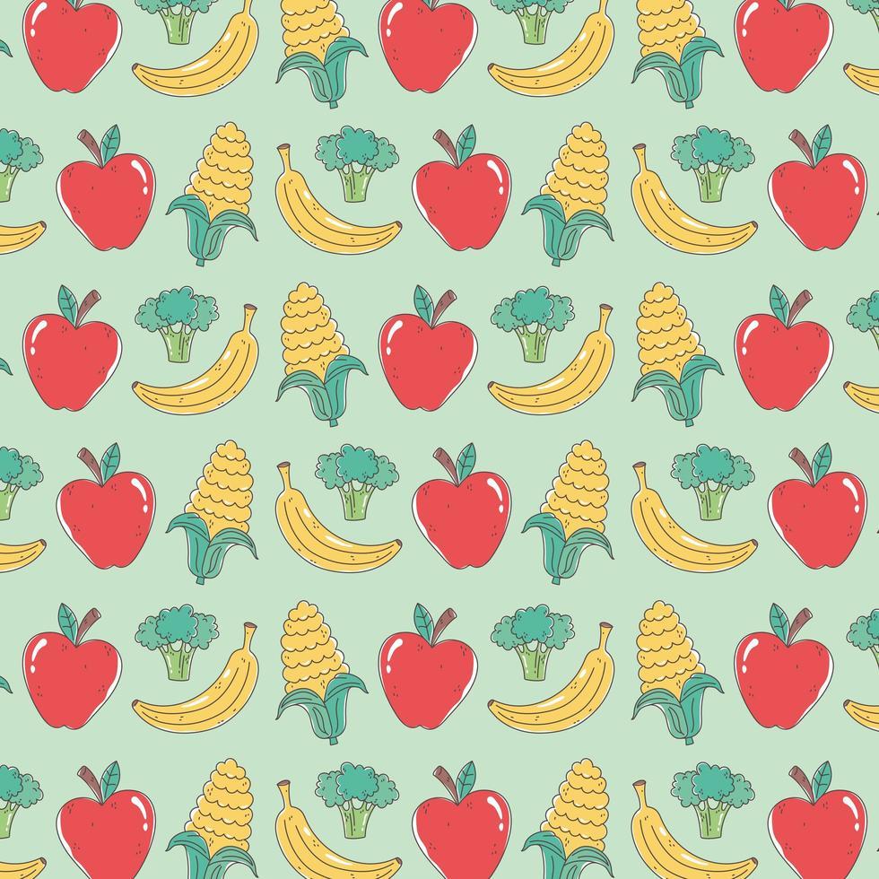 modello di cibo sano con mele, banane, broccoli e mais vettore