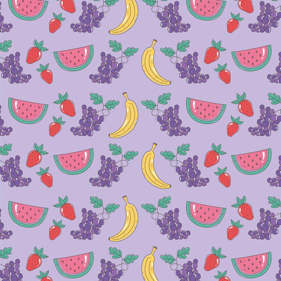 patrón de comida saludable con sandía, uvas, plátanos y fresas vector