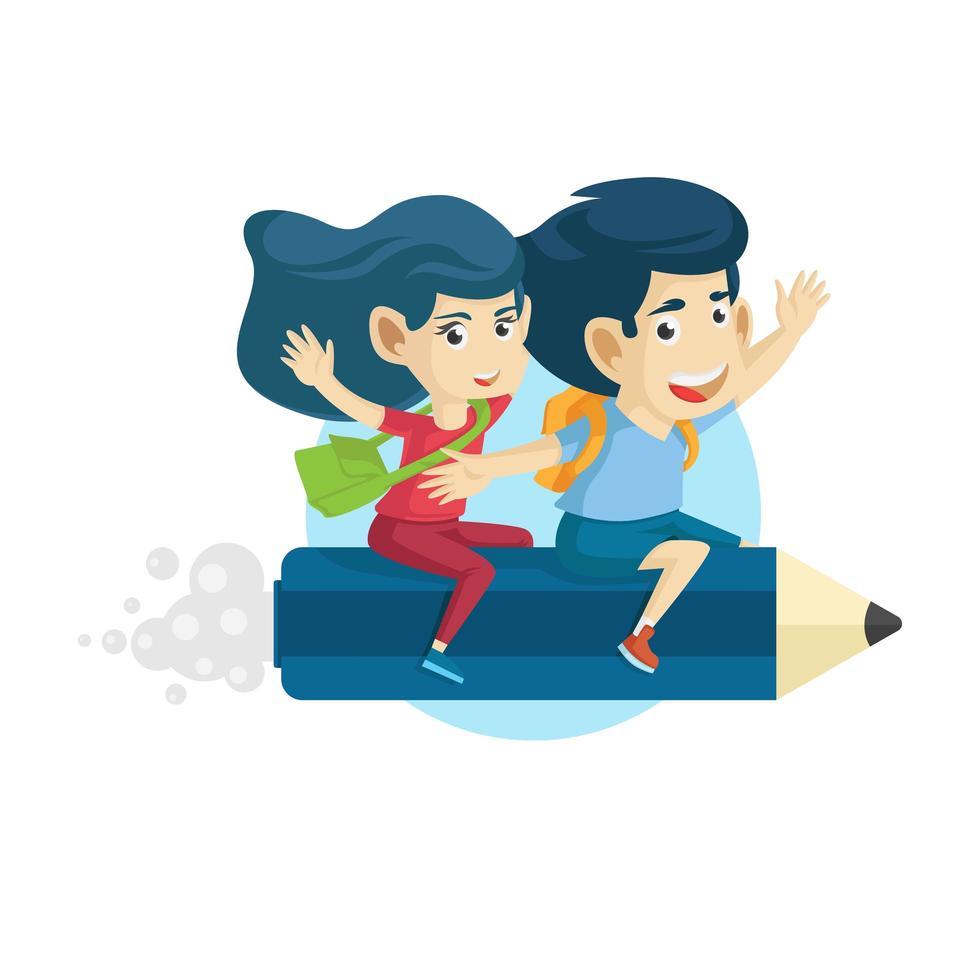 bambini che cavalcano una grande matita tornano a scuola vettore