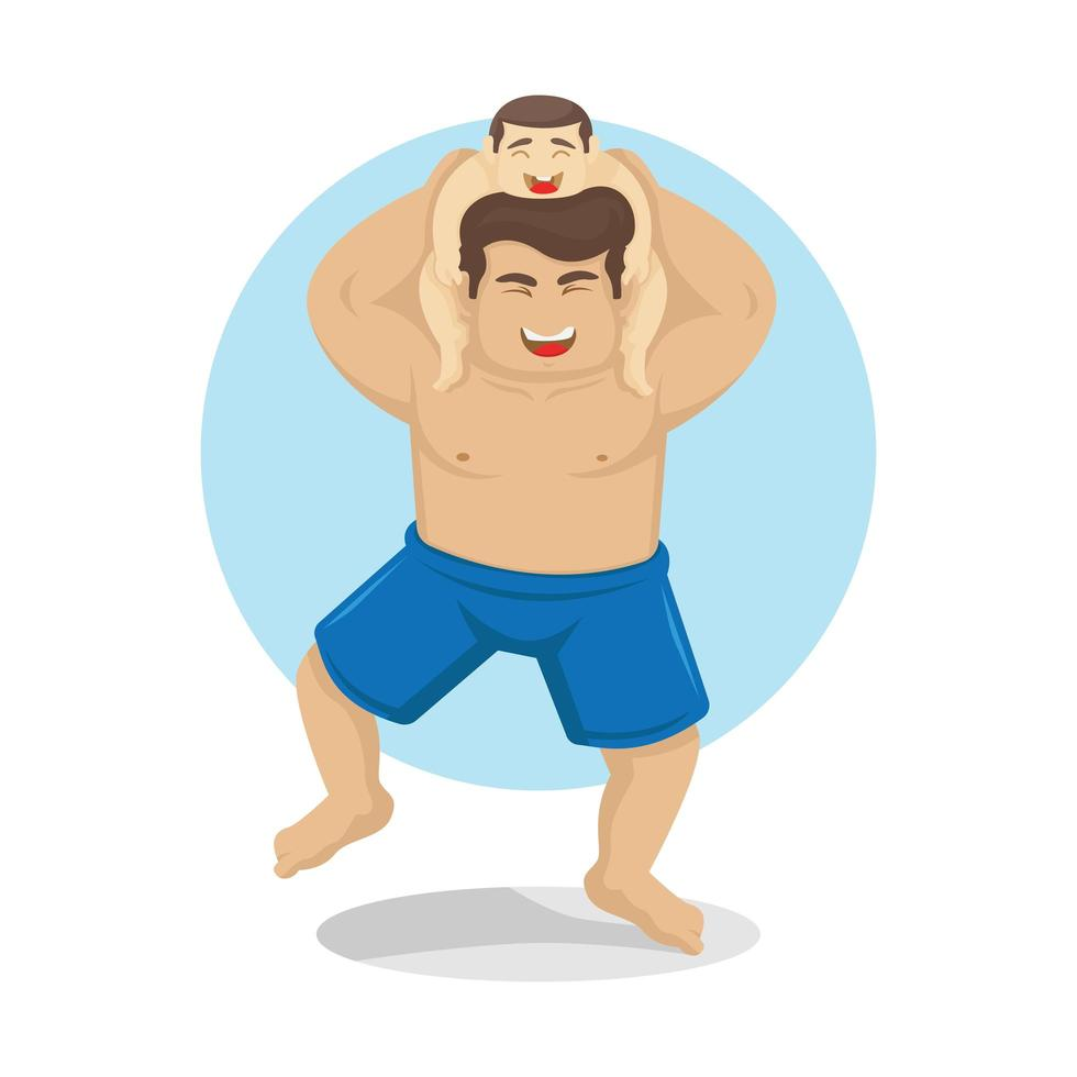 Dad Carrying Son on Shoulders vector