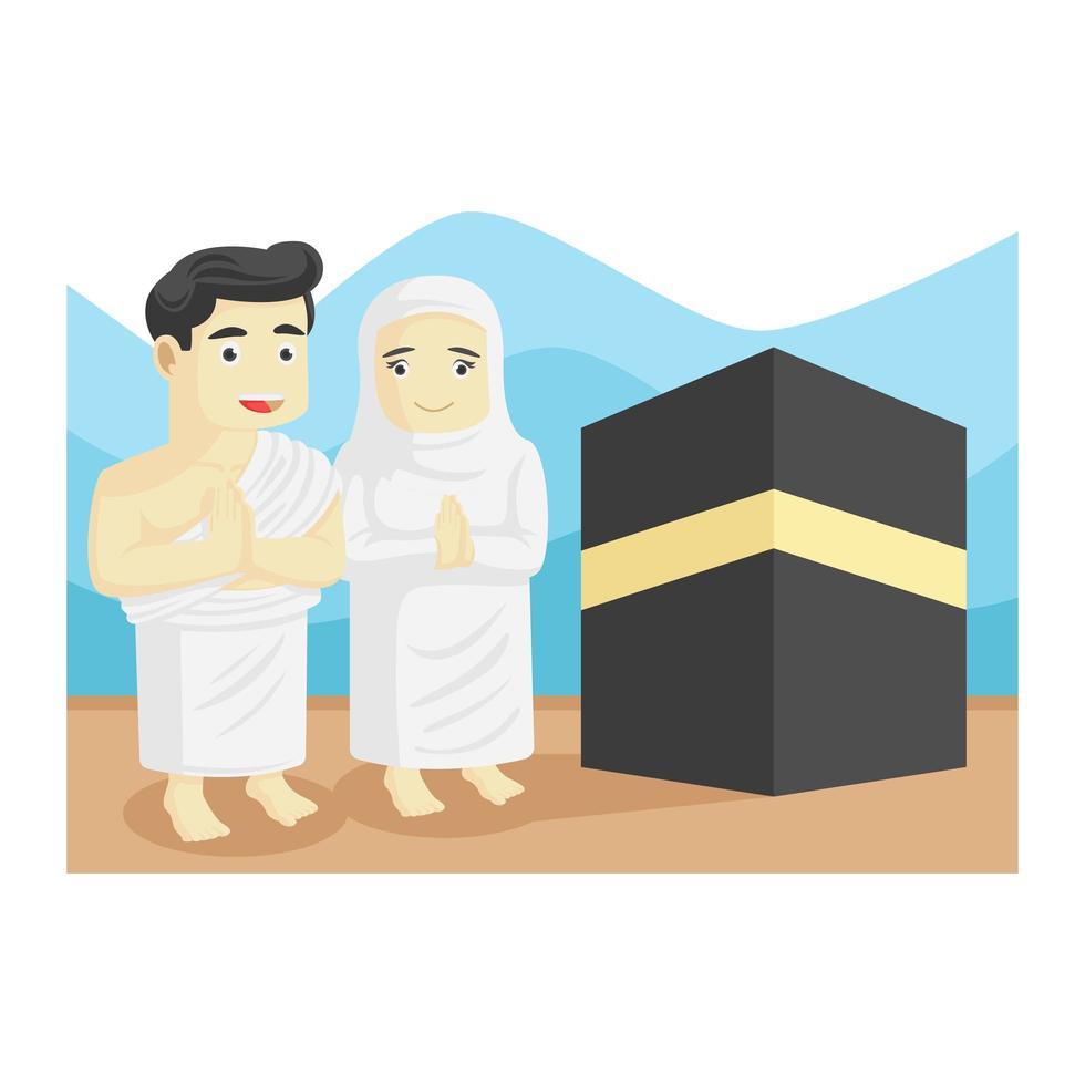 peregrino musulmán y musulmán en lugar sagrado vector