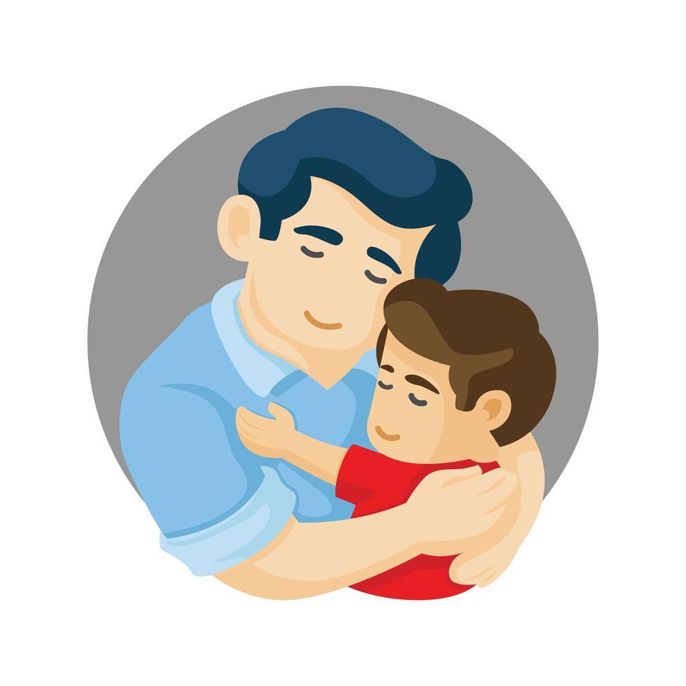 padre e hijo abrazándose vector