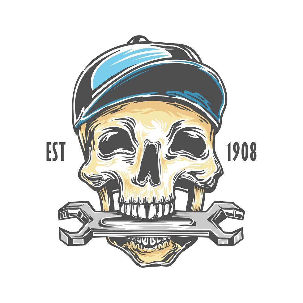 llave de morder mecánico de cráneo vector