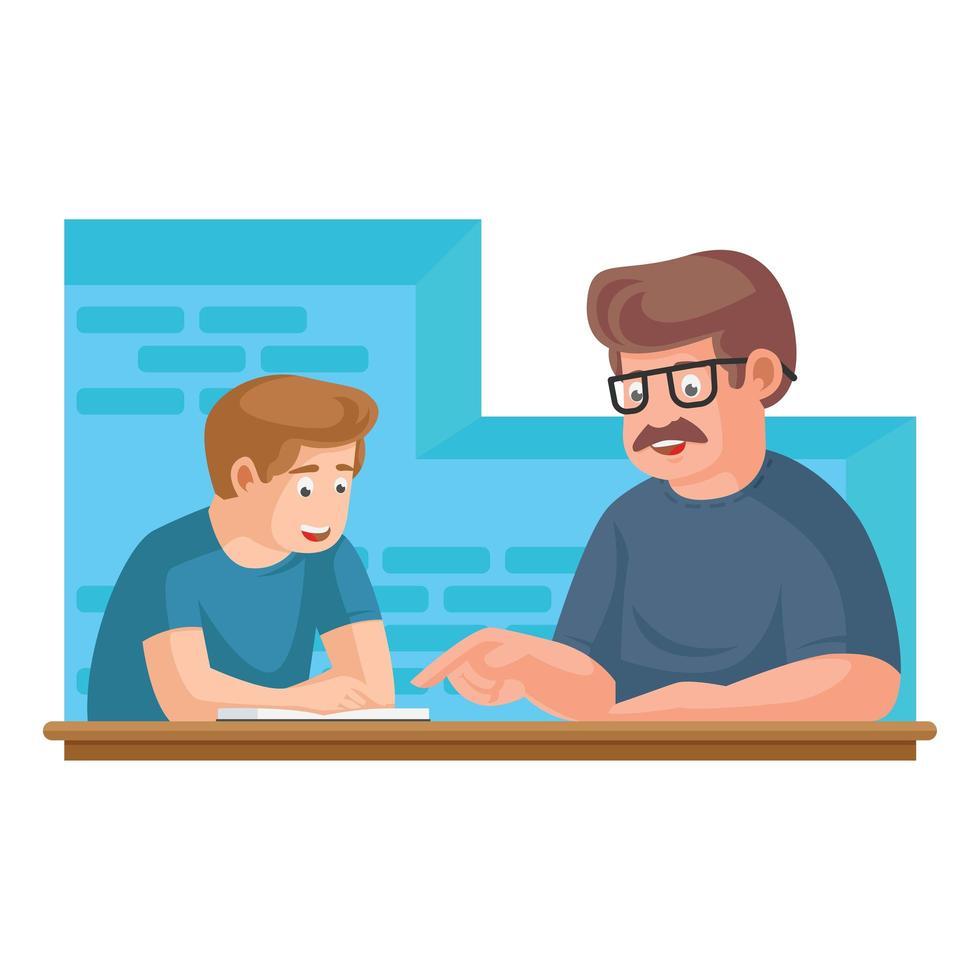 padre o insegnante che legge libri della biblioteca con il bambino vettore
