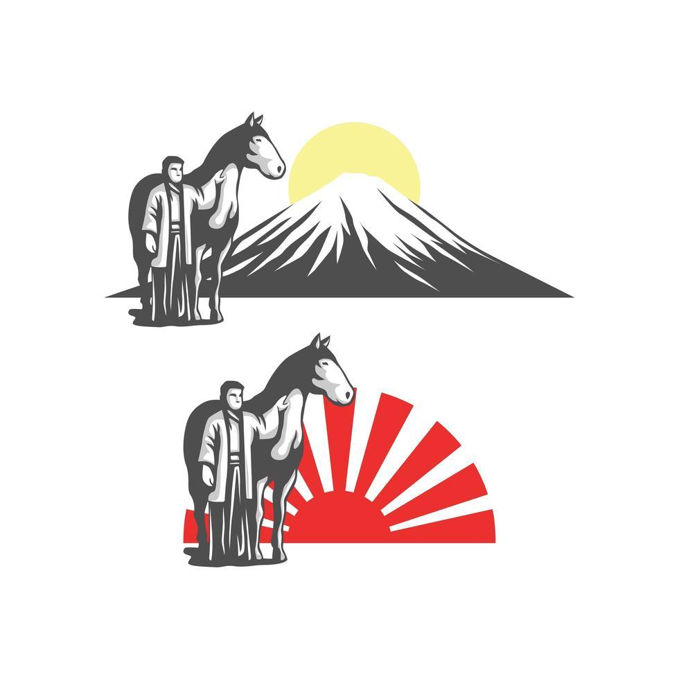 uomo giapponese con set cavallo vettore