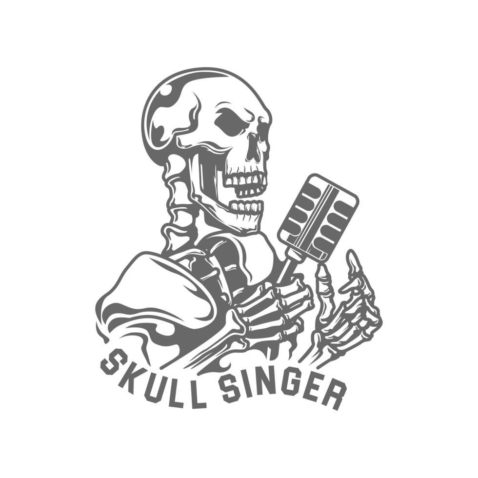 Calavera y micrófono emblema de cantante de jazz vector