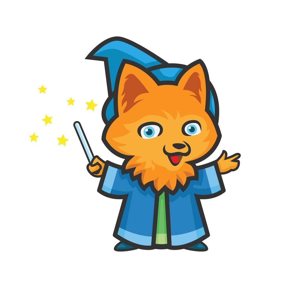logo sportivo del mago della volpe vettore