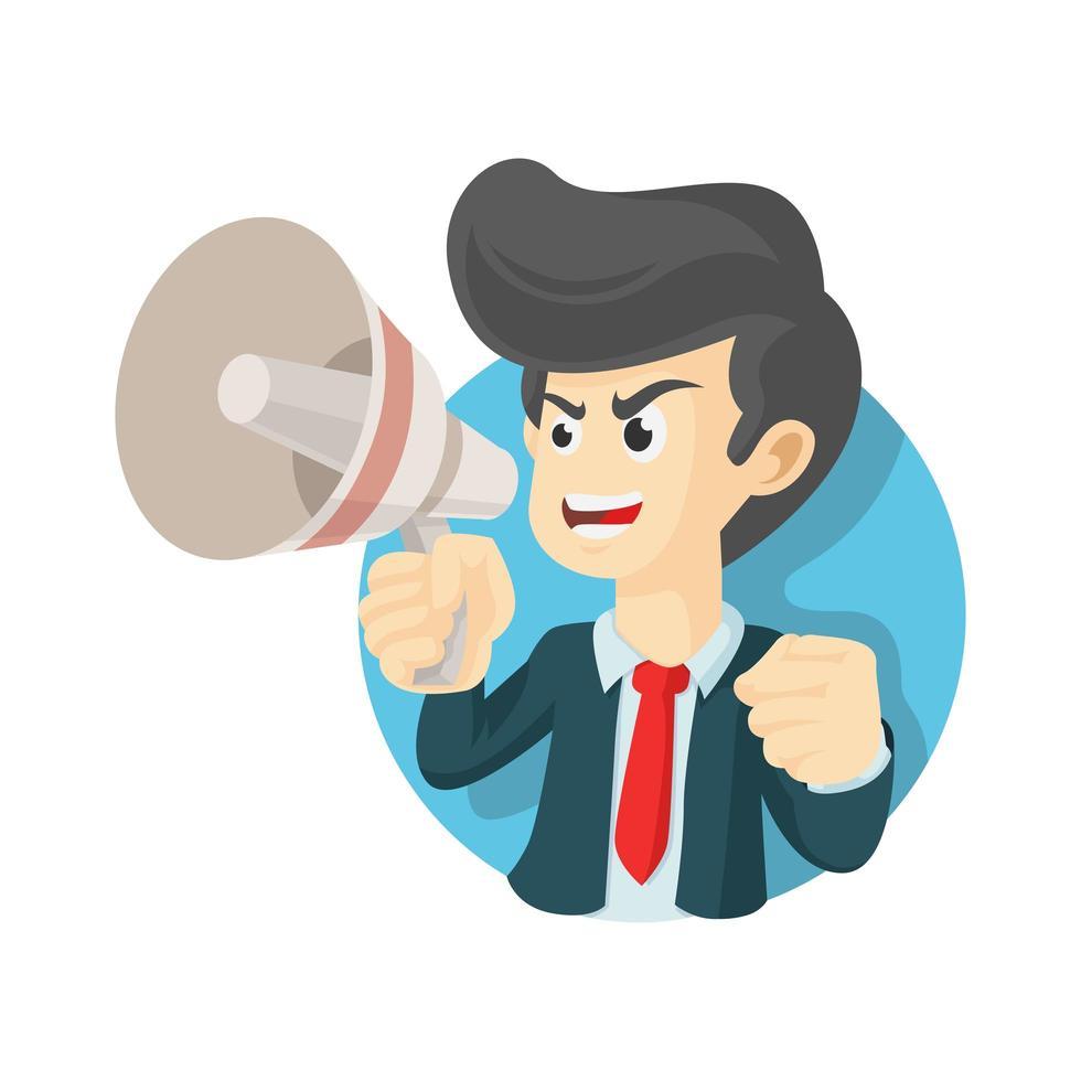 hombre de negocios, en, traje, tenencia, megáfono, con, boca abierta vector