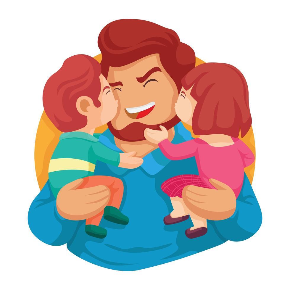 hijo e hija besando a papá vector