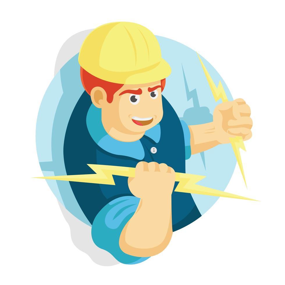 electricista, hombre, tenencia, iluminación vector
