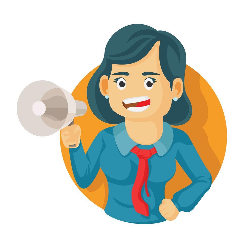 mujer de negocios, tenencia, megáfono, con, boca abierta vector