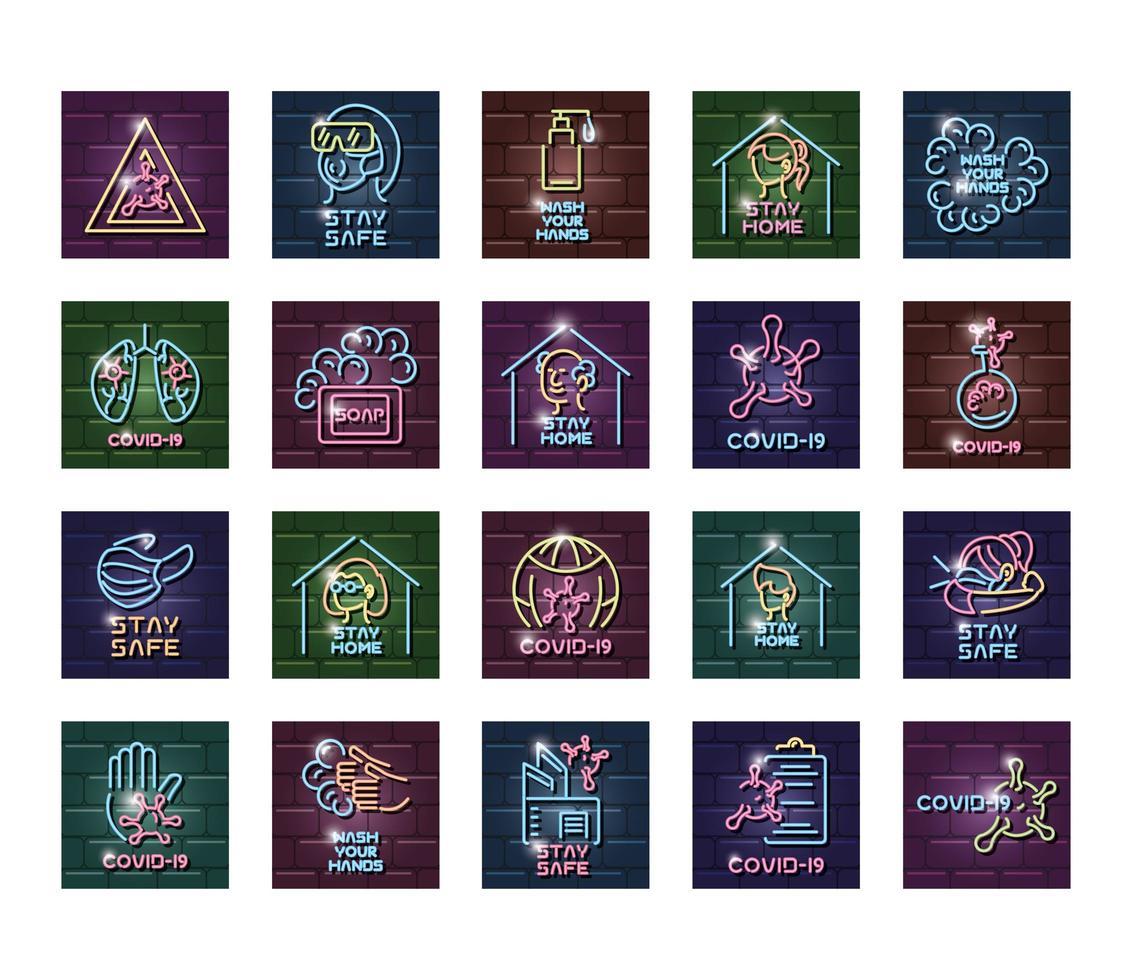 set di icone di luce al neon di prevenzione covid 19 vettore