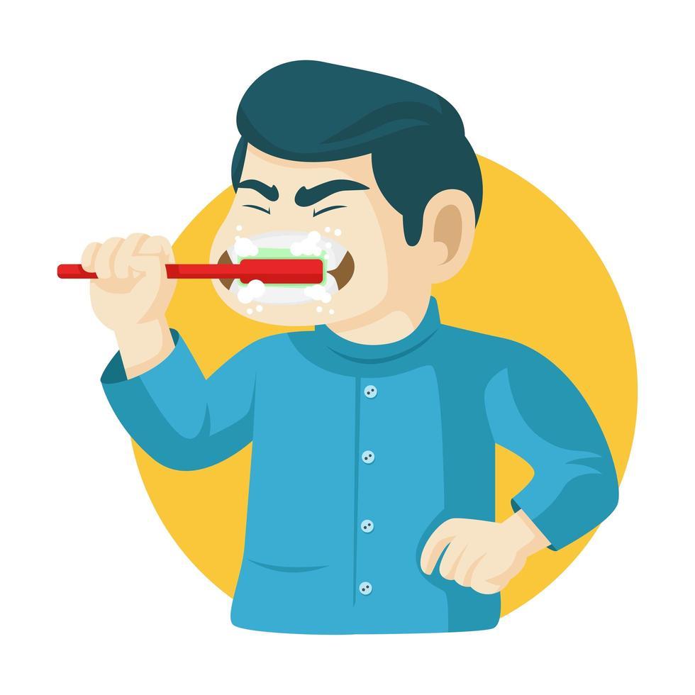 hombre cepillarse los dientes con cepillo de dientes vector