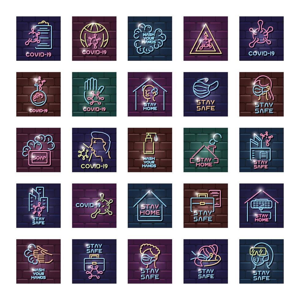 conjunto de iconos de coronavirus en luz de neón vector
