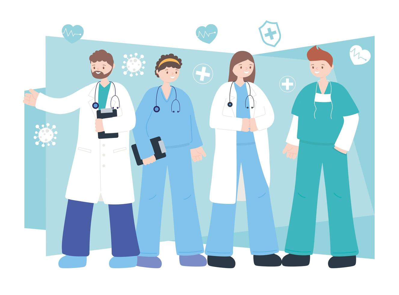 equipo de médicos profesionales y personal de enfermería vector