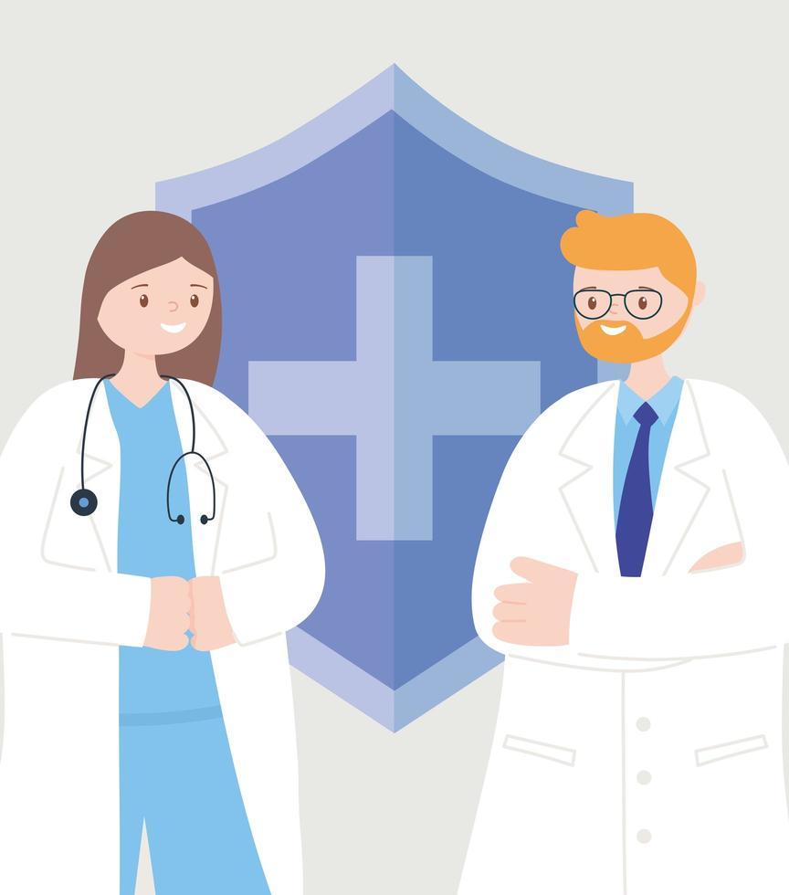 medici maschi e femmine davanti a un segno medico vettore