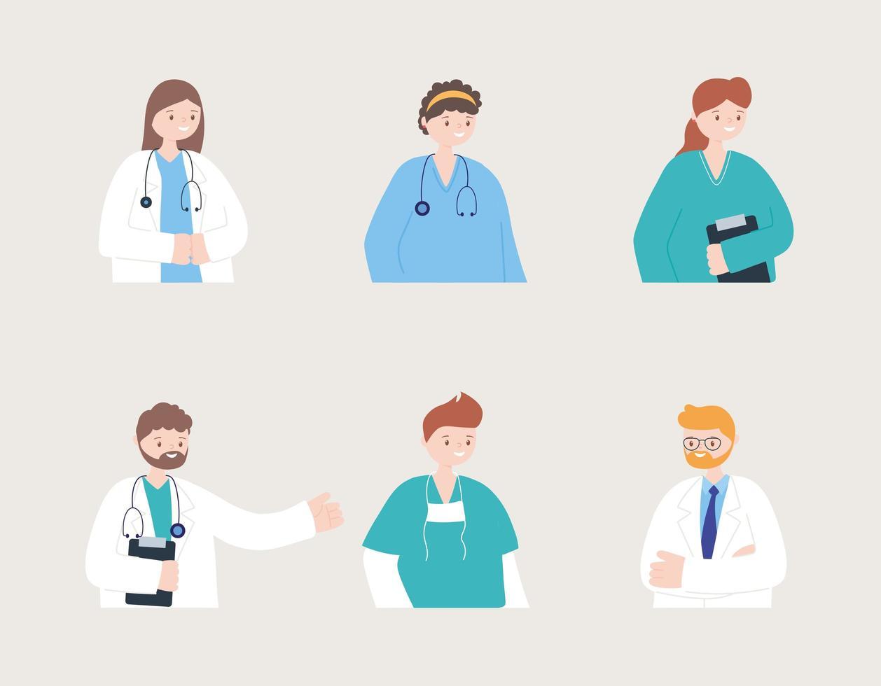 sei busti di medici, infermieri e medici vettore