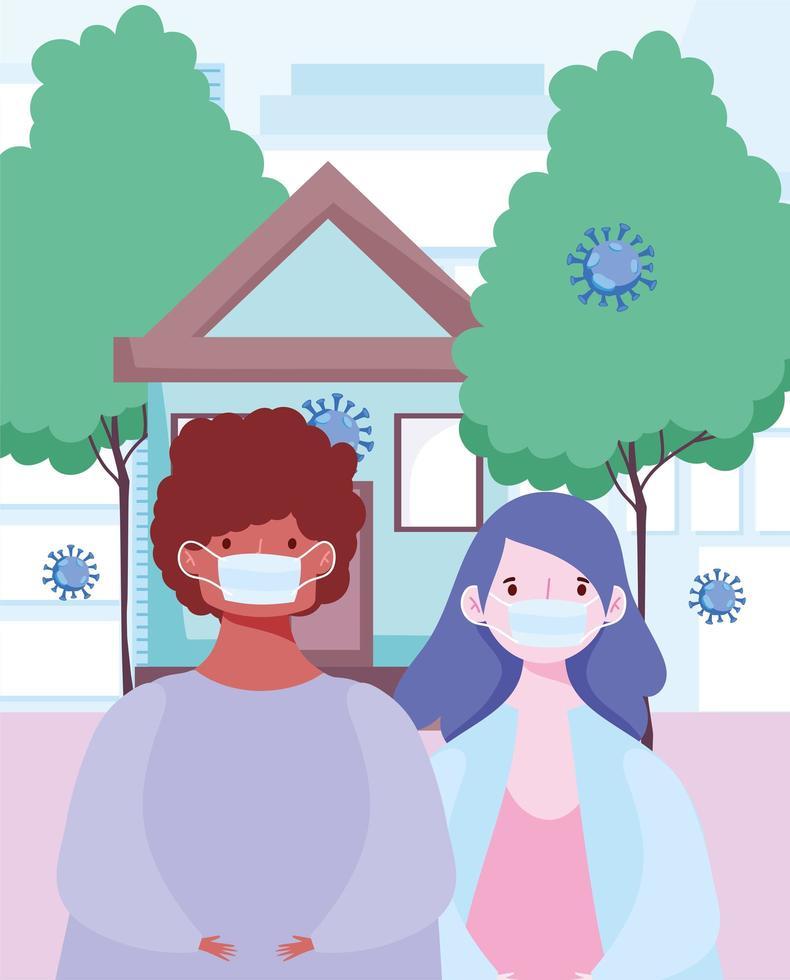 persone che indossano maschere all'aperto durante il coronavirus vettore