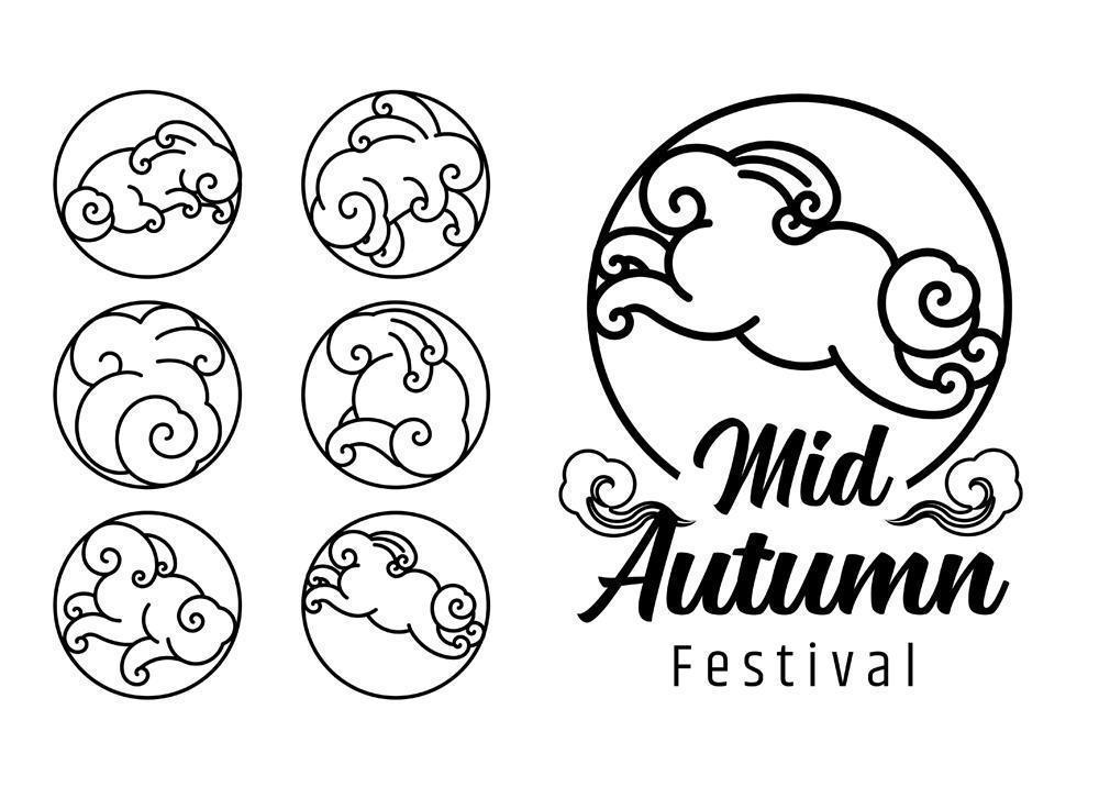 set di emblemi del festival di metà autunno vettore