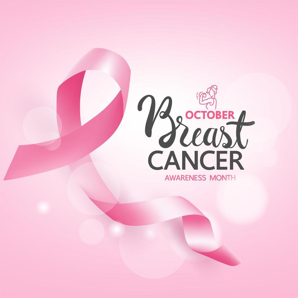 cartel de concientización sobre el cáncer de mama con cinta rosa vector