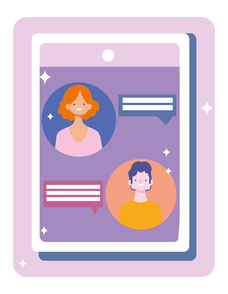 personaggi che si connettono tramite distanza sociale su tablet vettore