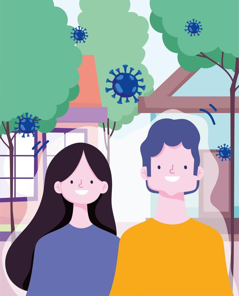 hombre y mujer al aire libre durante el brote de coronavirus vector