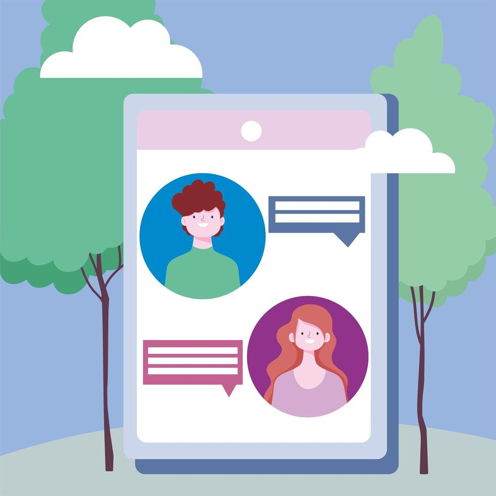 personajes que se conectan a través de la distancia social en la tableta al aire libre vector