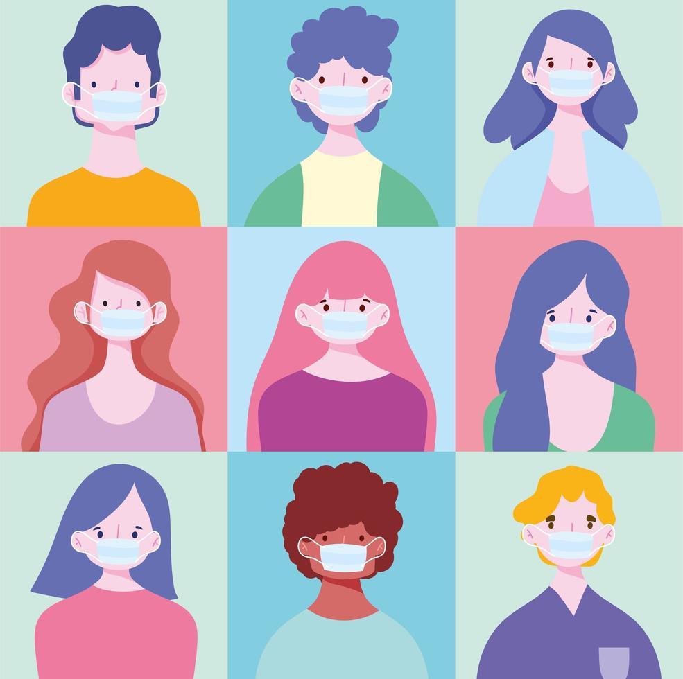 conjunto de jóvenes con máscaras médicas vector