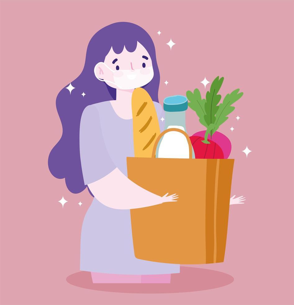 donna che indossa una maschera medica che trasportano generi alimentari vettore