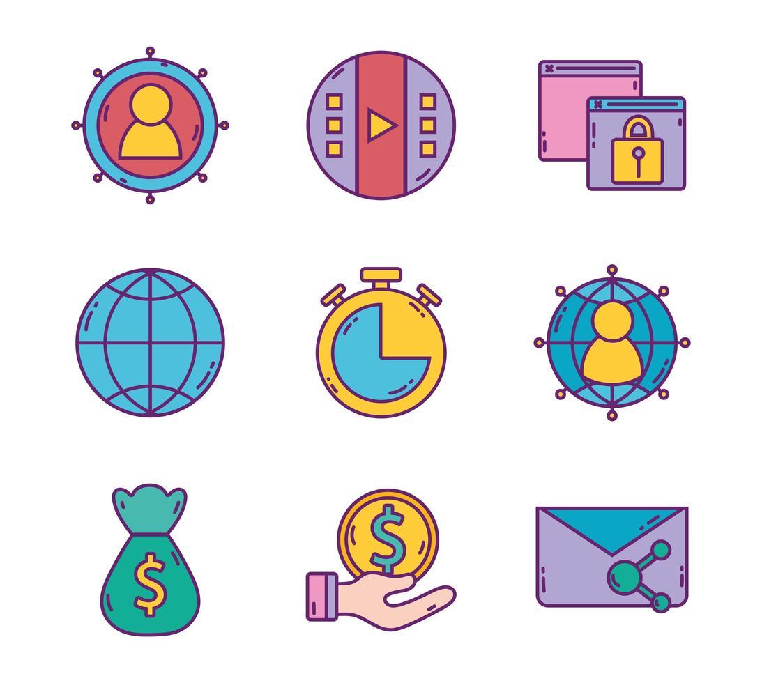 set di strategia aziendale e icone di marketing digitale vettore
