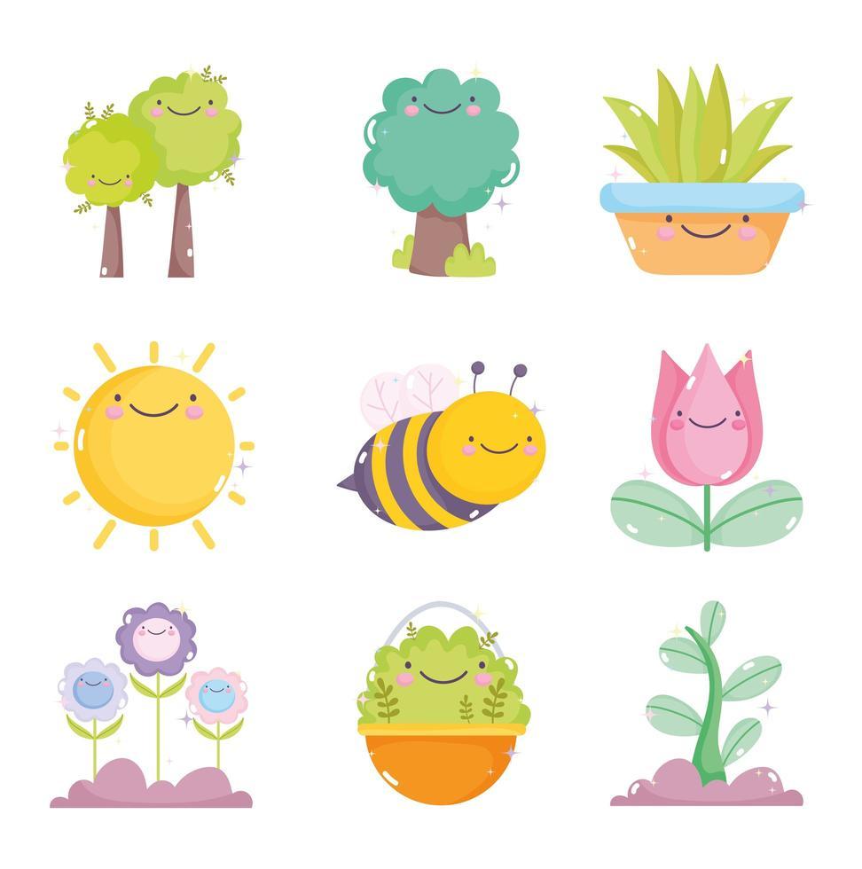 un paquete de iconos de jardinería kawaii vector
