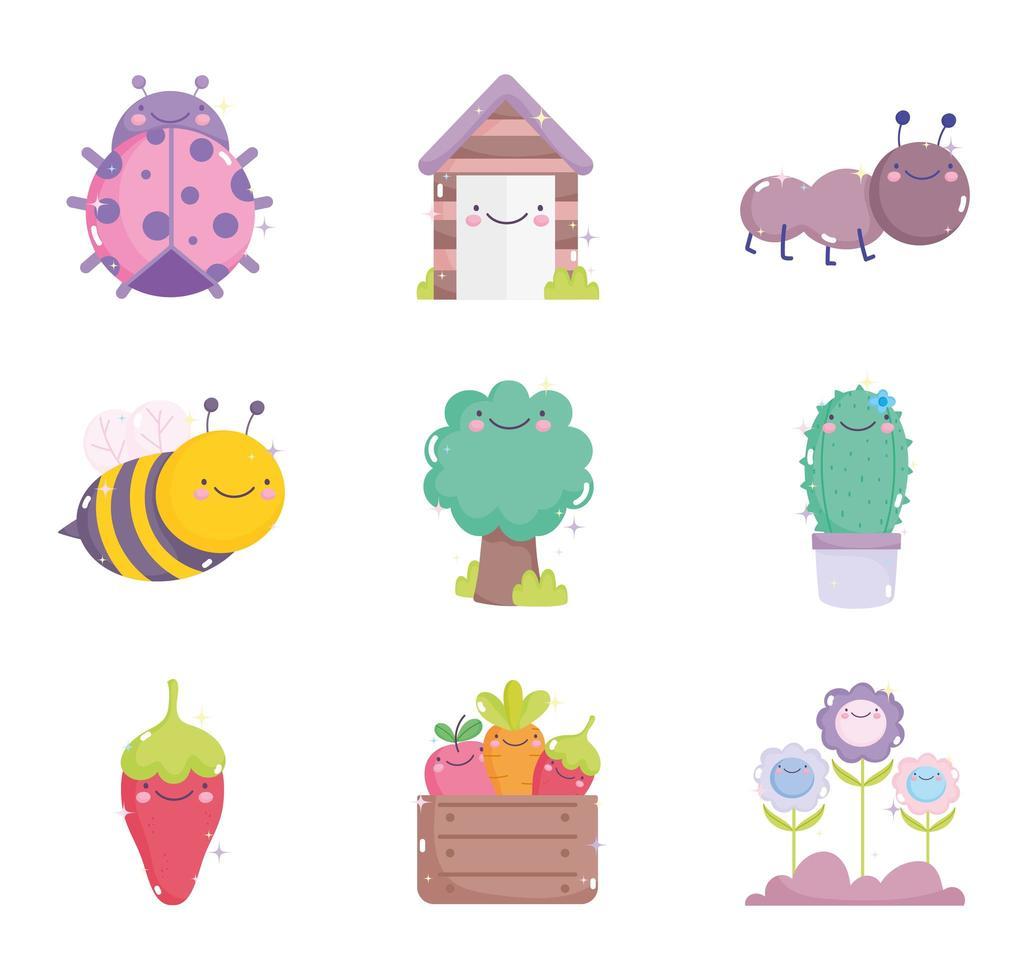 raccolta di icone di giardinaggio kawaii vettore