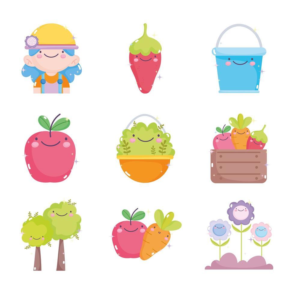 un set di icone di giardinaggio kawaii vettore