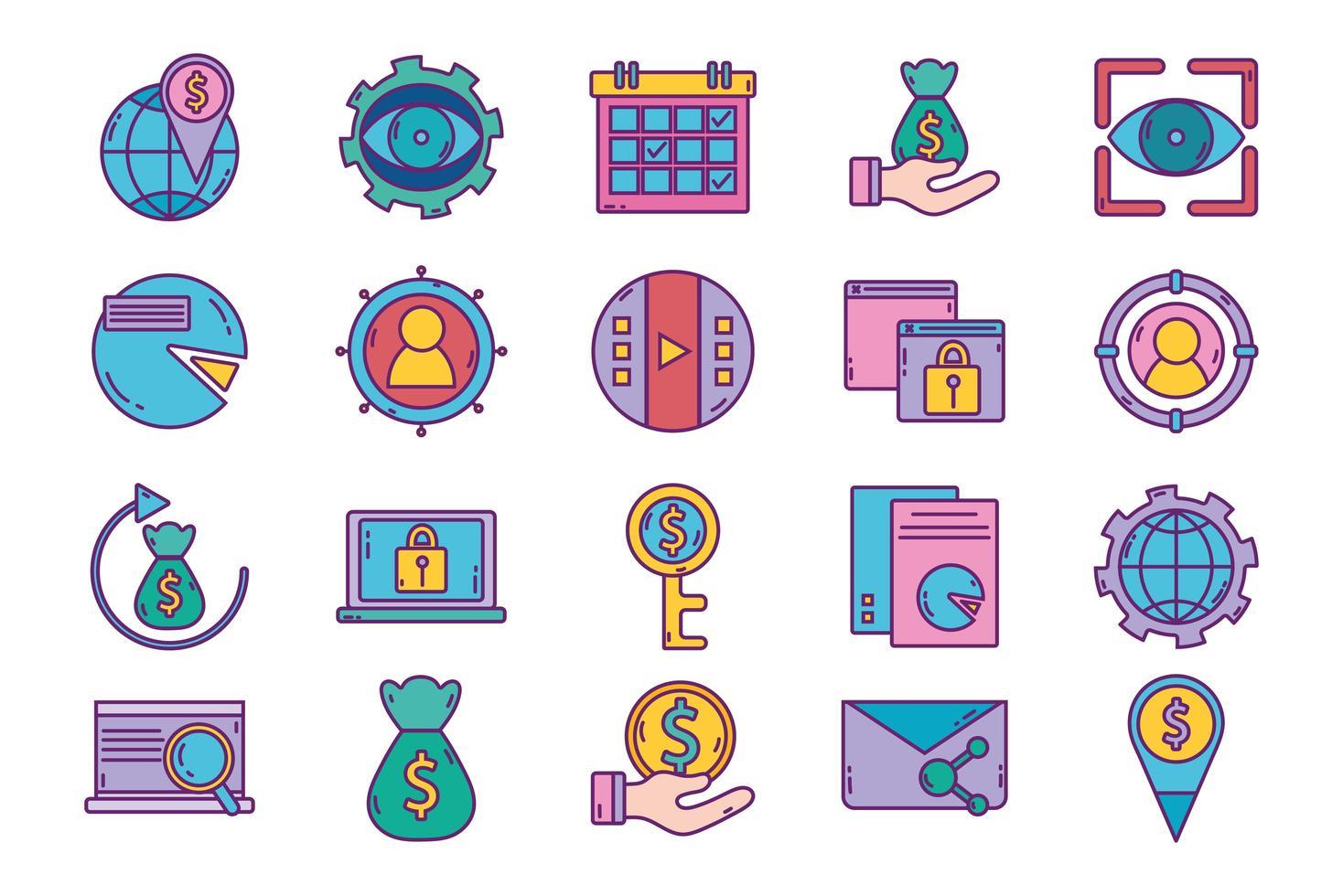 strategia aziendale e set di icone di marketing digitale vettore