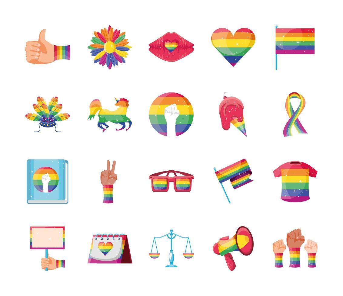 lgbt pride set di icone vettore
