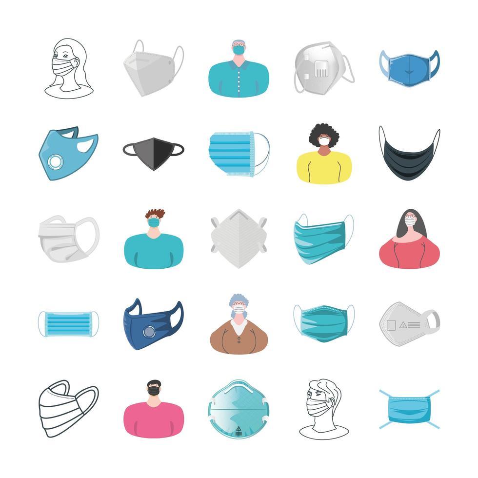 set di icone di maschere e persone che utilizzano maschere vettore