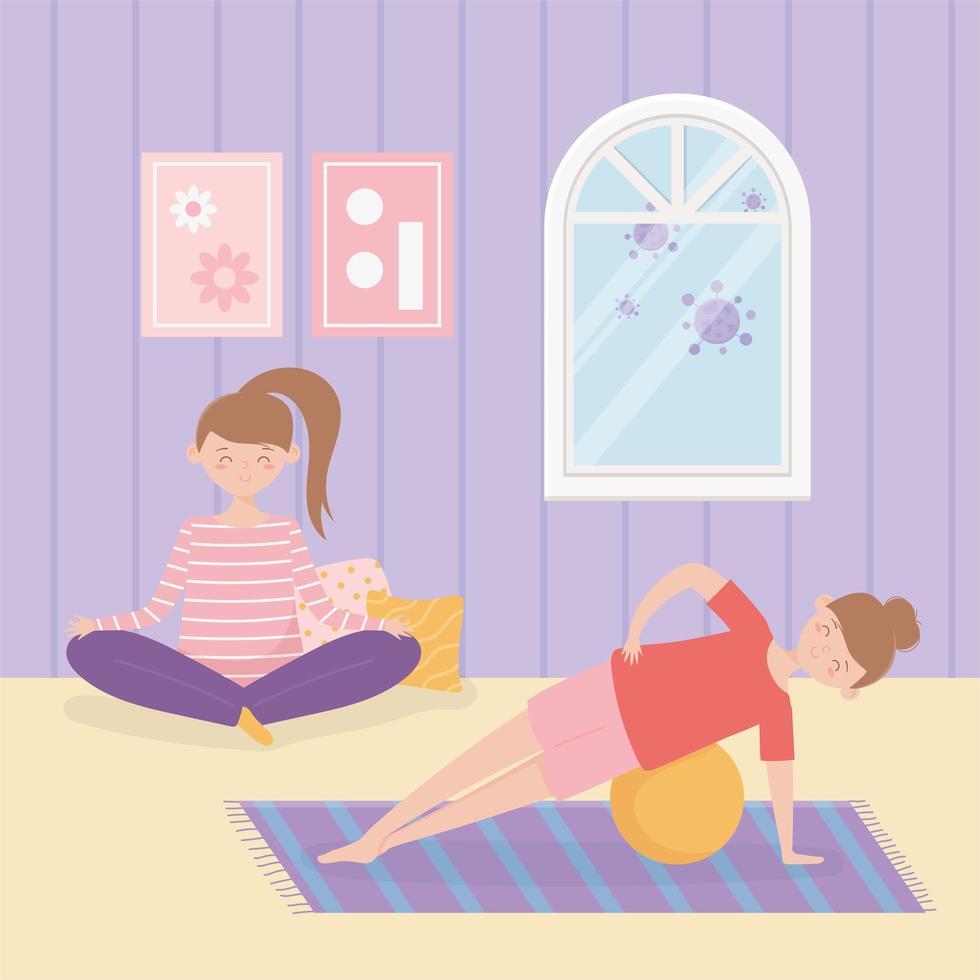 mujeres practicando yoga juntas en casa vector
