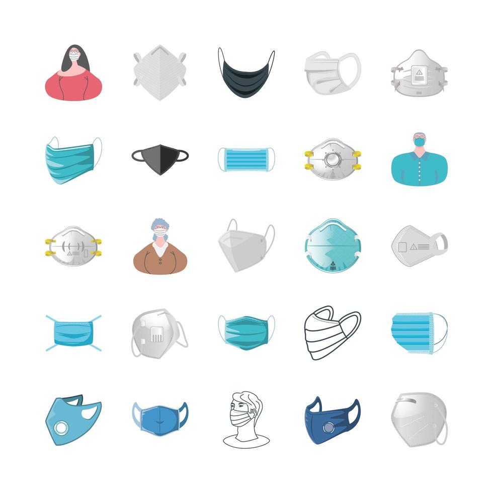 set di icone di maschere e persone che indossano maschere vettore