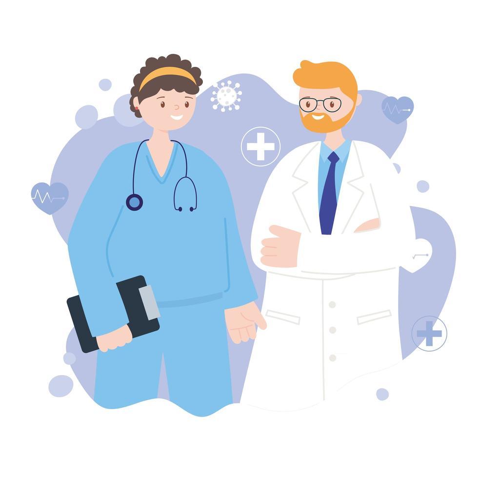 operatori sanitari e progettazione medica vettore