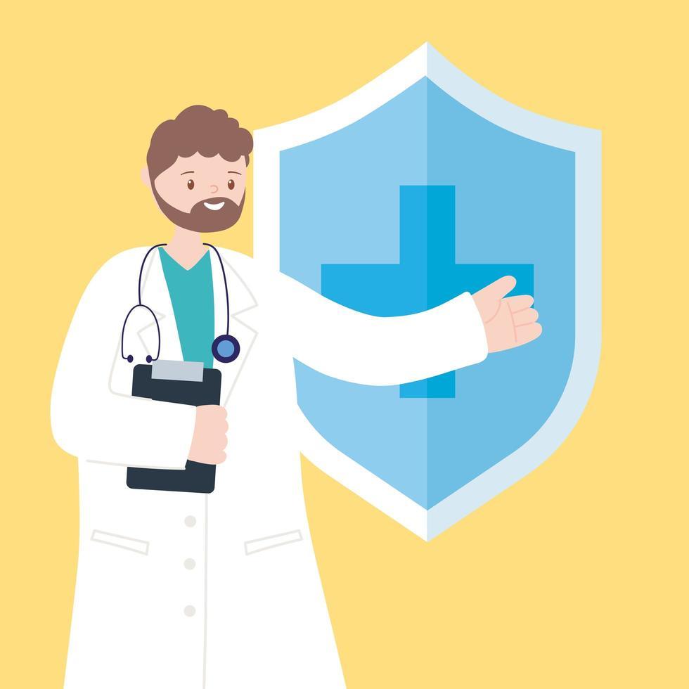 Doctor con portapapeles y estetoscopio apuntando al escudo médico vector